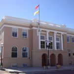 The front of the courthouse in Tierra Amarilla, NM